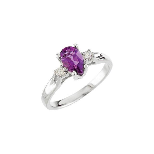 Genuine Amethyst & Diamond Ring