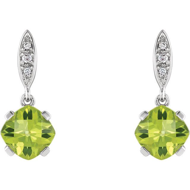 Genuine Peridot & Diamond Earrings