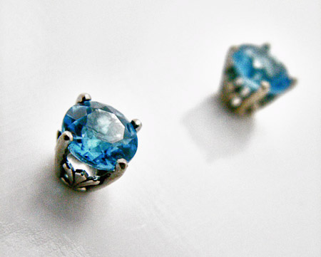 Swiss Blue Diamond Earrings