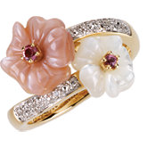 MOTHER OF PEARL, PINK TOURMALINE, & DIAMOND ACCENTED FLORAL-INSPIRED RING